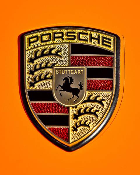 Photograph - Porsche Hood Emblem - 0674c45 by Jill Reger