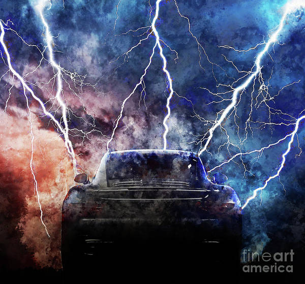 Wall Art - Painting - Porsche Lightning Storm by Jon Neidert