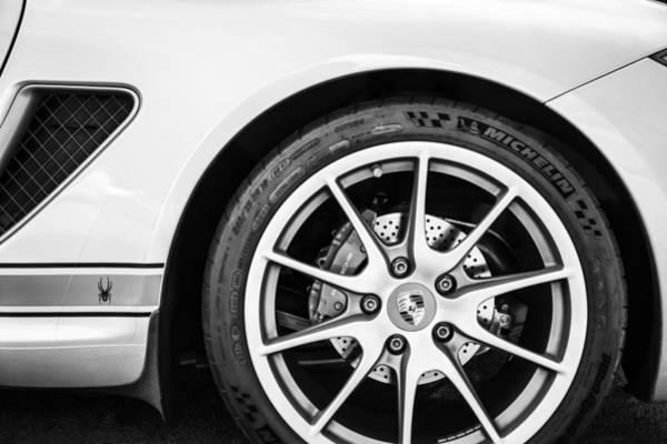 Wall Art - Photograph - Porsche Spyder Boxster Wheel Emblem -0028bw by Jill Reger