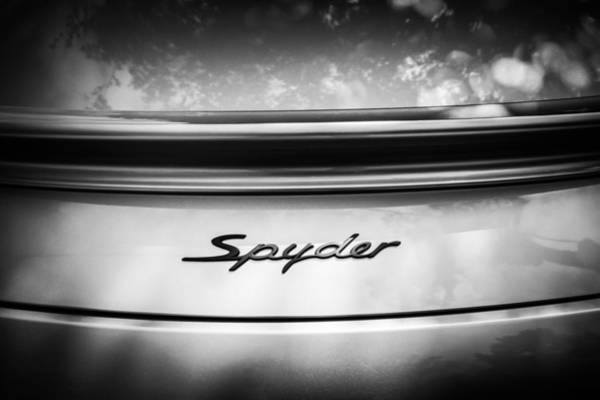 Wall Art - Photograph - Porsche Spyder Emblem -0040bw by Jill Reger