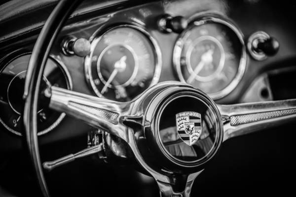 Steering Wheel Wall Art - Photograph - Porsche Super 90 Steering Wheel Emblem -1537bw by Jill Reger