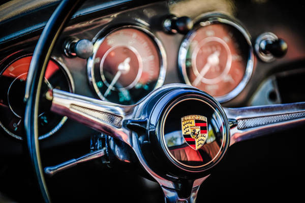 Steering Wheel Wall Art - Photograph - Porsche Super 90 Steering Wheel Emblem -1537c by Jill Reger