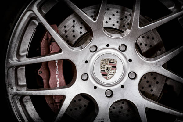 Wall Art - Photograph - Porsche Wheel Emblem -1323ac by Jill Reger