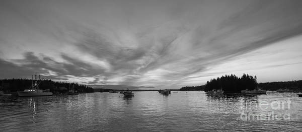 Fire In The Sky Wall Art - Photograph - Port Clyde Sunset Bw by Michael Ver Sprill