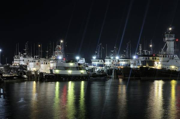 Photograph - Port Fourchon Tugboats At Night by Bradford Martin