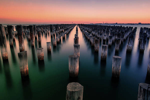 Port Orange Photograph - Port Melbourne Australia At Dusk by Georgiana Romanovna