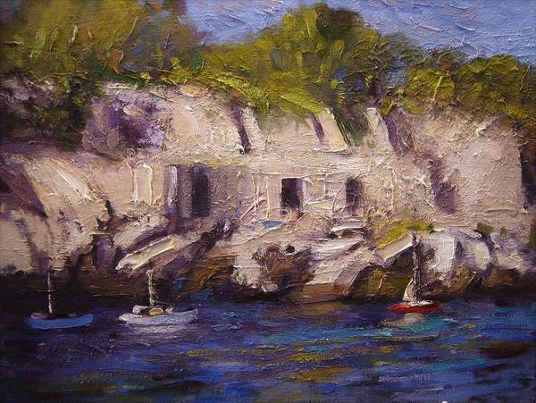 Southern France Painting - Port Miou In Les Calanques France by R W Goetting