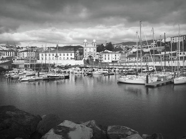 Photograph - Port Of Angra Do Heroismo, Terceira Island, The Azores In Black And White by Kelly Hazel