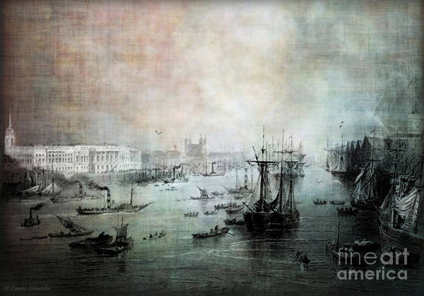 Tides Digital Art - Port Of London - Circa 1840 by Lianne Schneider