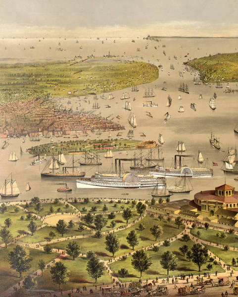 Battery Park Wall Art - Painting - Port Of New York, Birds Eye View From The Battery Looking South, Circa 1878 by Currier and Ives