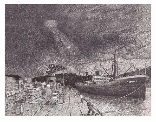 Wa Drawing - Port Of Tacoma Wa Waterfront by Jack Pumphrey