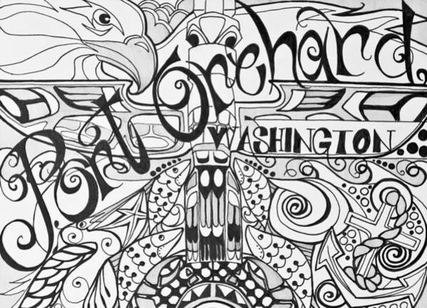 Drawing - Port Orchard Washington Zentangle Collage 2 by Jani Freimann