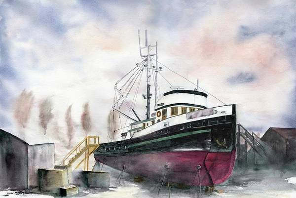 Port Townsend Painting - Port Townsend Boat Yard by Shirley Mercer