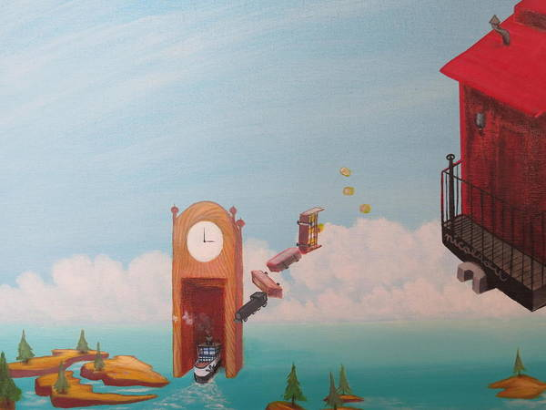 Grandfather Clock Painting - Portal Problems by Michael Steven Nicolaou