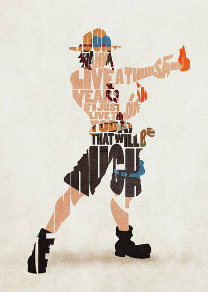 Digital Art - Portgas D. Ace Typography Art by Inspirowl Design