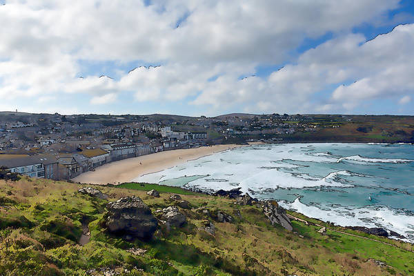 West Bay Digital Art - Porthmeor Beach St Ives Cornwall England United Kingdom With Waves Blue Sea And Sky Colourful  by Michael Charles