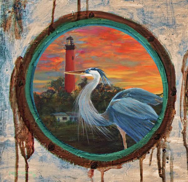 Great Blue Heron Mixed Media - Porthole Painting Jupiter Lighthouse Painting by Ken Figurski