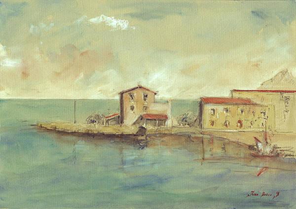 Sicily Painting - Porticello Santa Flavia  Seascape At Sicily Palermo by Juan  Bosco