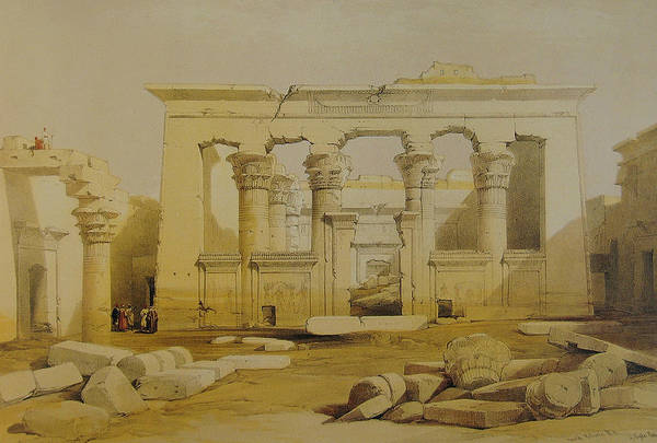 Portico Painting - Portico Of The Temple Of Kalabshe, Nubia by David Roberts