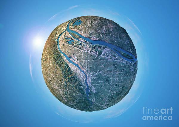 Little Planet Digital Art - Portland 3d Little Planet 360-degree Sphere Panorama by Frank Ramspott
