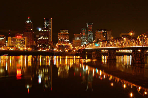 Photograph - Portland At Night by Wes and Dotty Weber