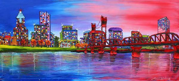 Wall Art - Painting - Portland City Lights #106 by Dunbar's Modern Art