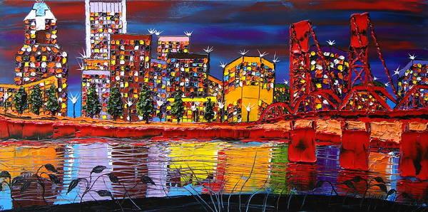Wall Art - Painting - Portland City Lights 11 by Dunbar's Modern Art