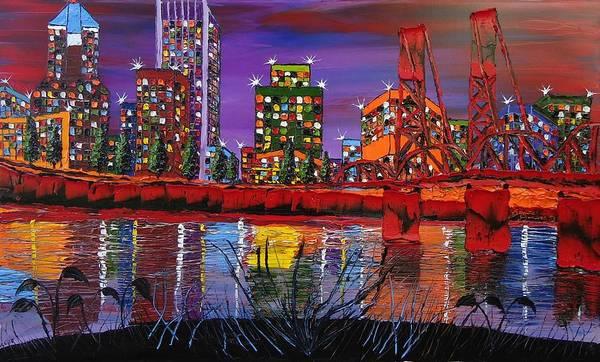 Wall Art - Painting - Portland City Lights 14 by Dunbar's Modern Art