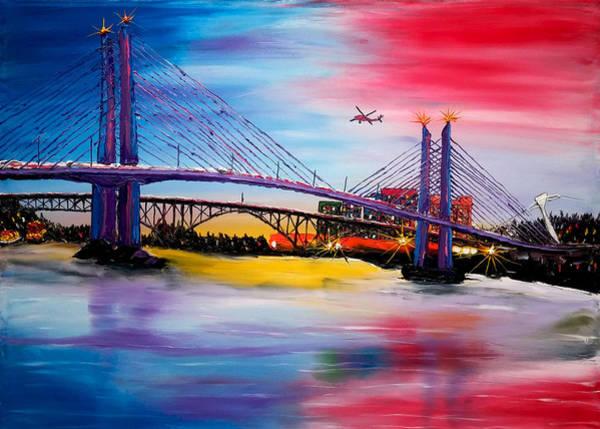 Wall Art - Painting - Portland City Lights Over Tilikum Bridge 1 by Dunbar's Modern Art