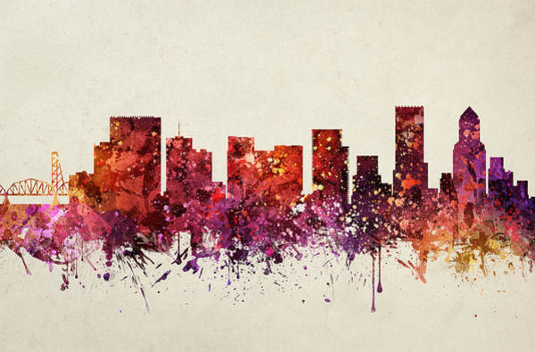 Portland Wall Art - Painting - Portland Cityscape 09 by Aged Pixel