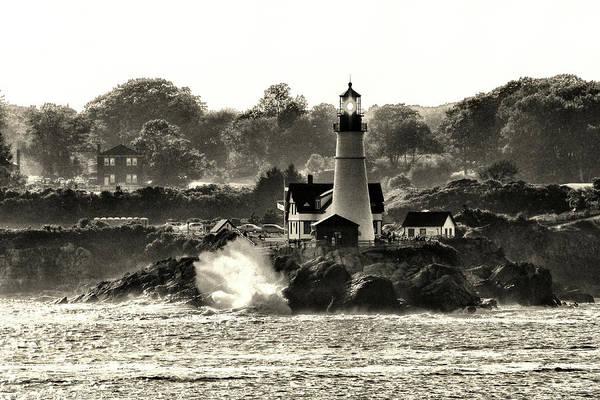 Portland Head Light At Cape Elizabeth In Black And White Art Print