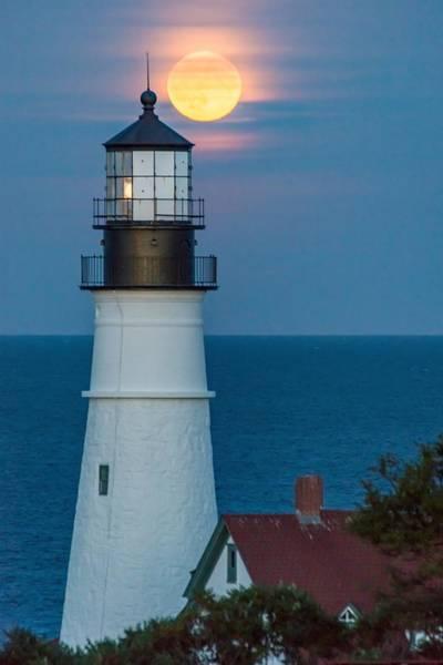 Wall Art - Photograph - Portland Head Light Moonrise by Tim Sullivan