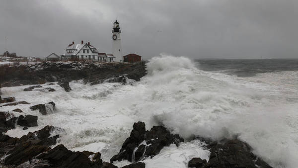 Photograph - Portland Head Light Nor'easter by Colin Chase