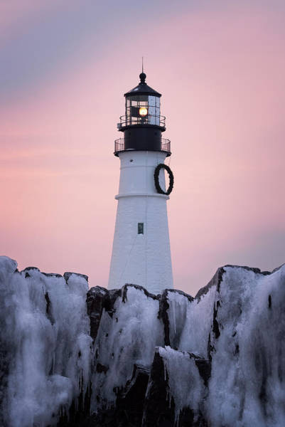 Portland Head Light Wall Art - Photograph - Portland Head Light - Winter Sunrise by Jeff Bazinet