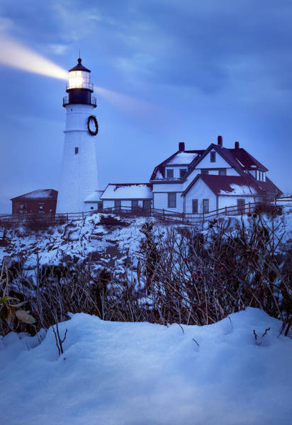Portland Head Light Wall Art - Photograph - Portland Head Light - Winter Twilight by Jeff Bazinet