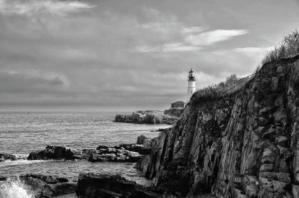 Photograph - Portland Head Lighthouse - Cape Elizabeth Maine In Black And White by Bill Cannon