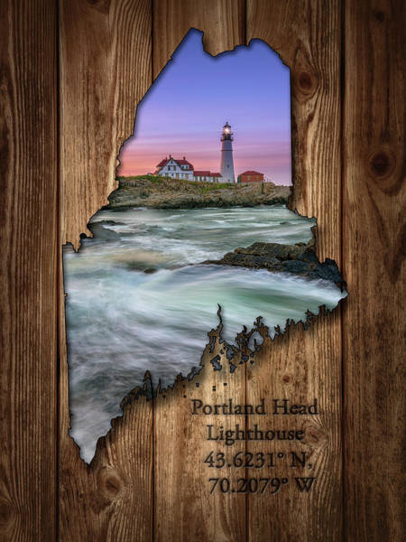 Photograph - Portland Head Lighthouse Maine State Map by Rick Berk