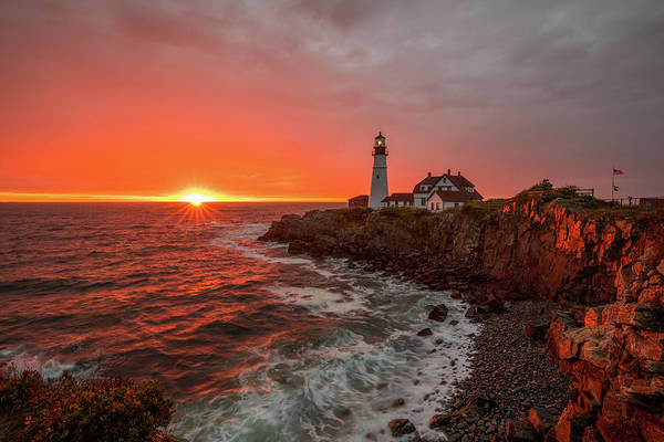 Photograph - Portland Head Sunrise by Rob Davies
