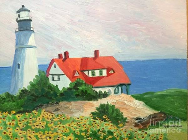 Painting - Portland Headlight With Brown Eyed Susans by Stella Sherman
