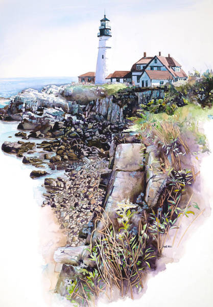 Wall Art - Painting - Portland Lighthouse by Mike Hill