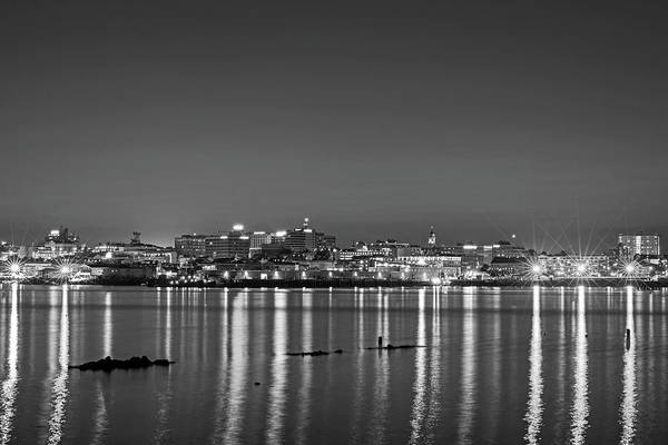 Photograph - Portland Maine Skyline At Dusk Portland Me Black And White by Toby McGuire