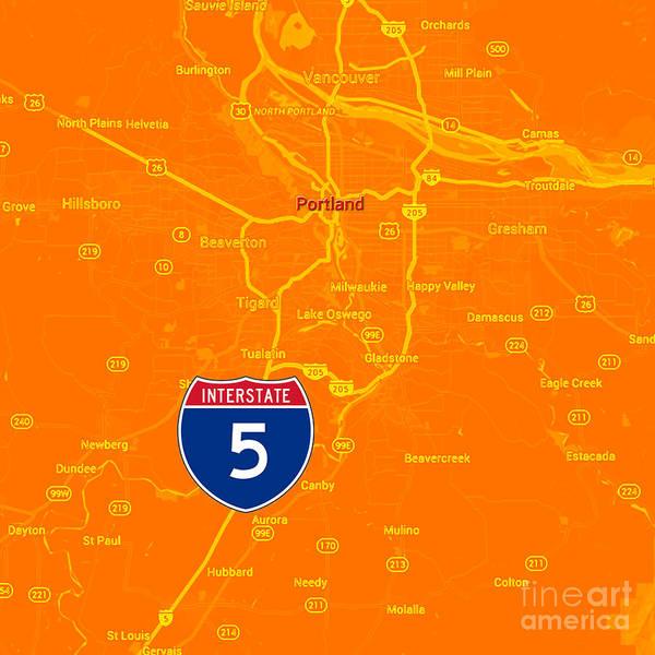 101 Digital Art - Portland Map, Interstate 5 by Drawspots Illustrations