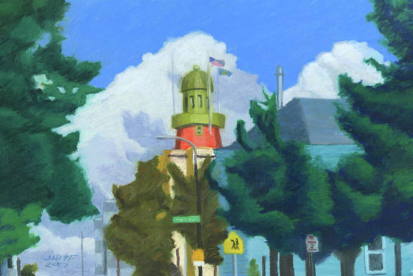 Pastel - Portland Observatory From Congress Street by Dominic White