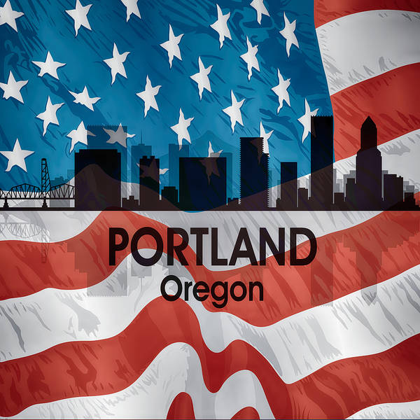 Digital Art - Portland Or American Flag Squared by Angelina Tamez