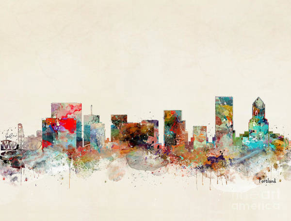 Watercolour Landscape Painting - Portland Oregon City Skyline by Bri Buckley