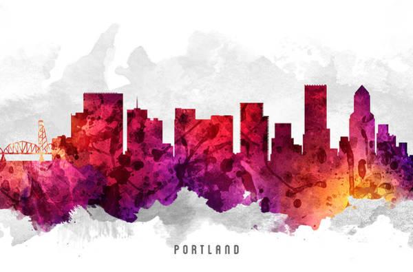 Portland Wall Art - Painting - Portland Oregon Cityscape 14 by Aged Pixel