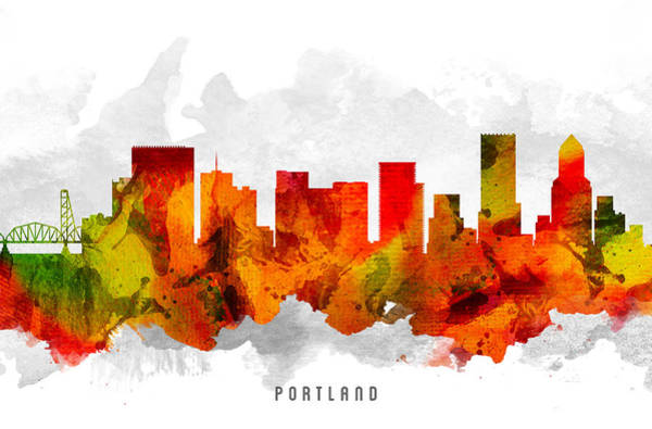 Portland Wall Art - Painting - Portland Oregon Cityscape 15 by Aged Pixel