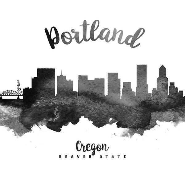 Wall Art - Painting - Portland Oregon Skyline 18 by Aged Pixel