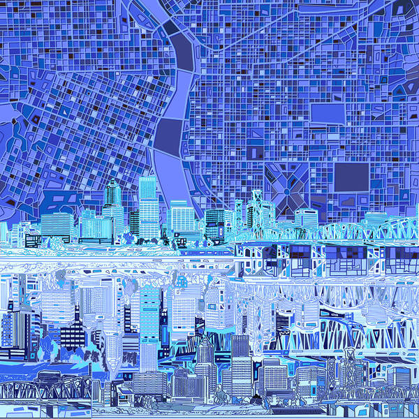 Portland Wall Art - Painting - Portland Skyline Abstract 5 by Bekim M