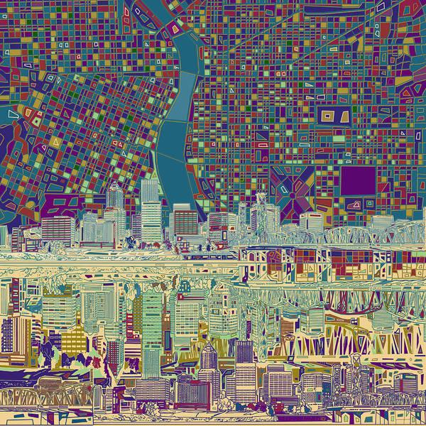 Portland Wall Art - Painting - Portland Skyline Abstract 7 by Bekim M